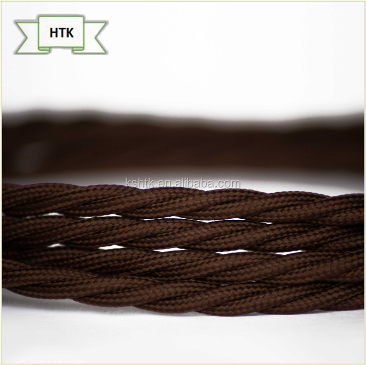 Coffee Color Twisted Cotton/Rayon Braided Vintage Fabric Coloured Lighting Cable