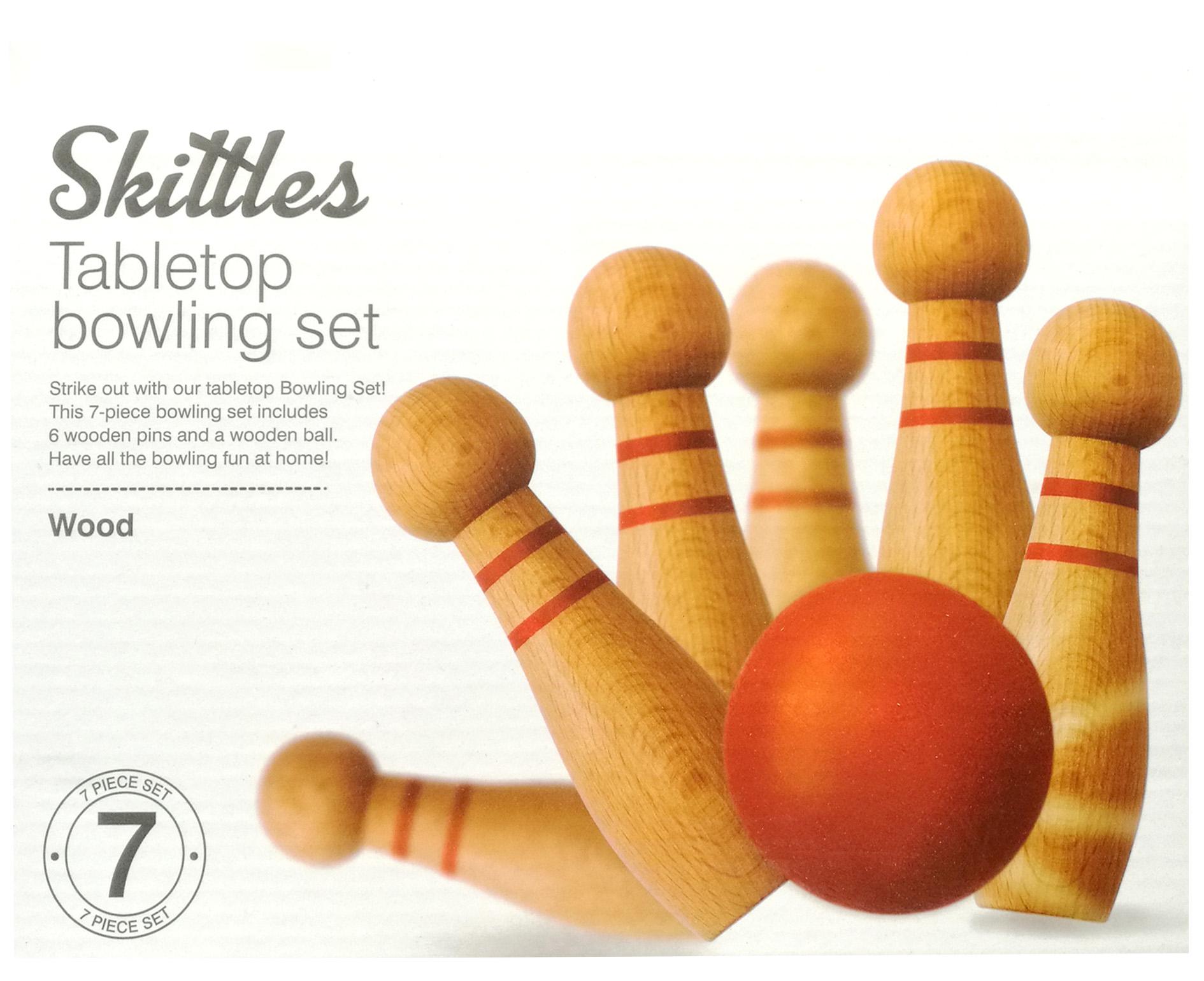 """7pcs Bowling di Legno Insieme Include 6 Perni di Legno E UNA Palla di Legno 4 """"Alto Birilli Da Tavolo Bowling Set"""