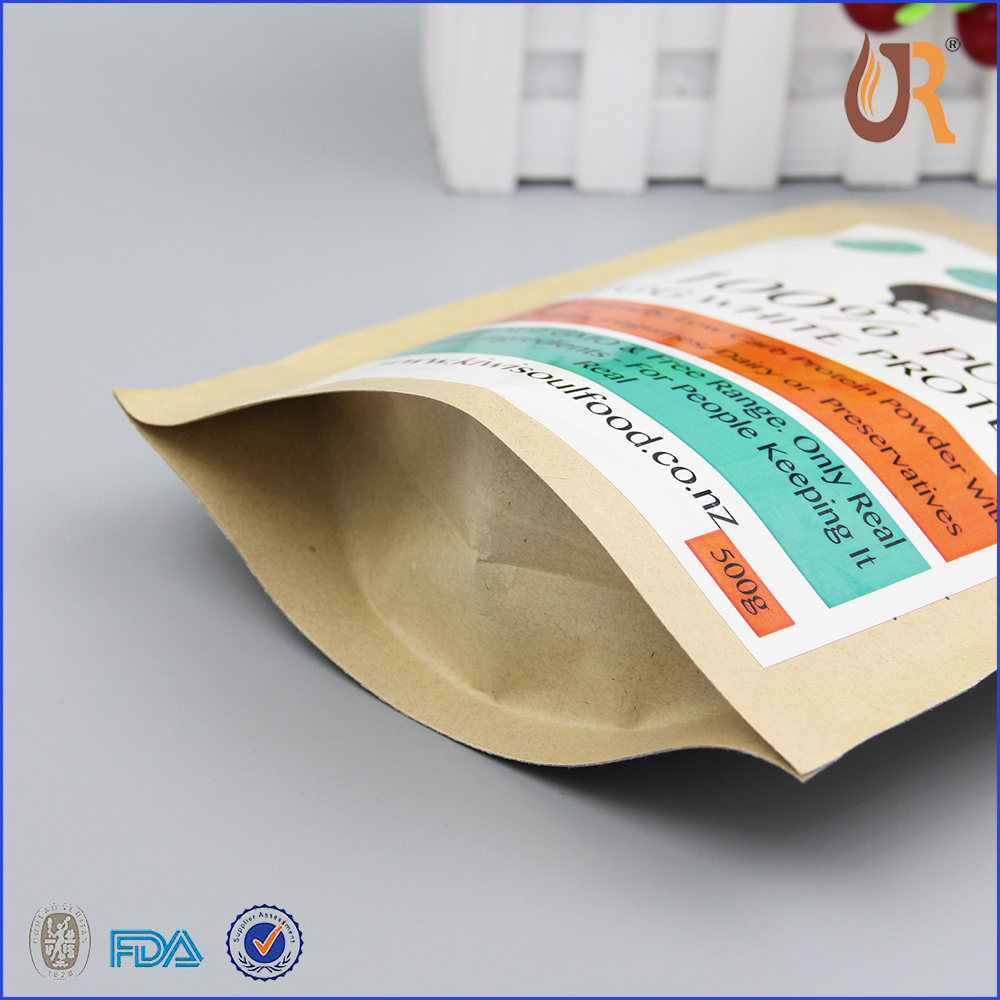 cheap heavy multi layer aluminum foil chocolate kraft paper bag with white printing sticker