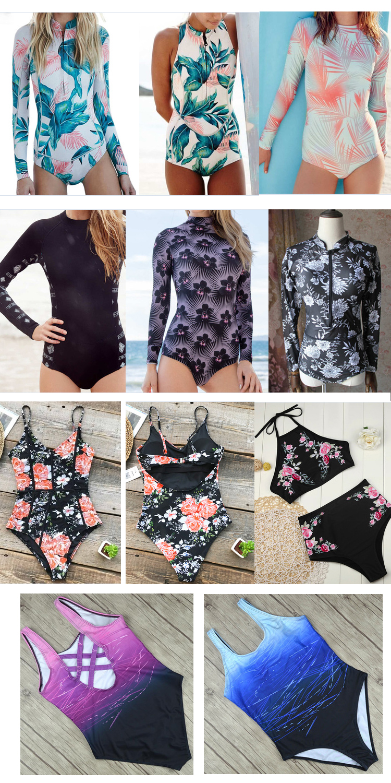 2017 Long Sleeves Rash Guard Women Surf Swimwear Floral One Piece Swimsuit For Diving UV Swimming Shirt Rashgard Wetsuits