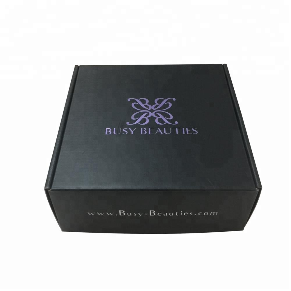 Popular in USA hot stamping purple color custom printing black box for mailling hair