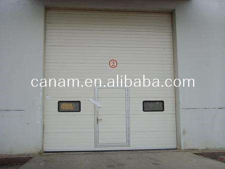 Color Steel Slat Sectional Industrial Sliding Door with Small Entry Door
