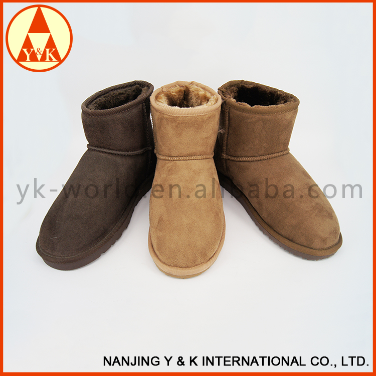 Promotional warm colorful womens ankle snow boots