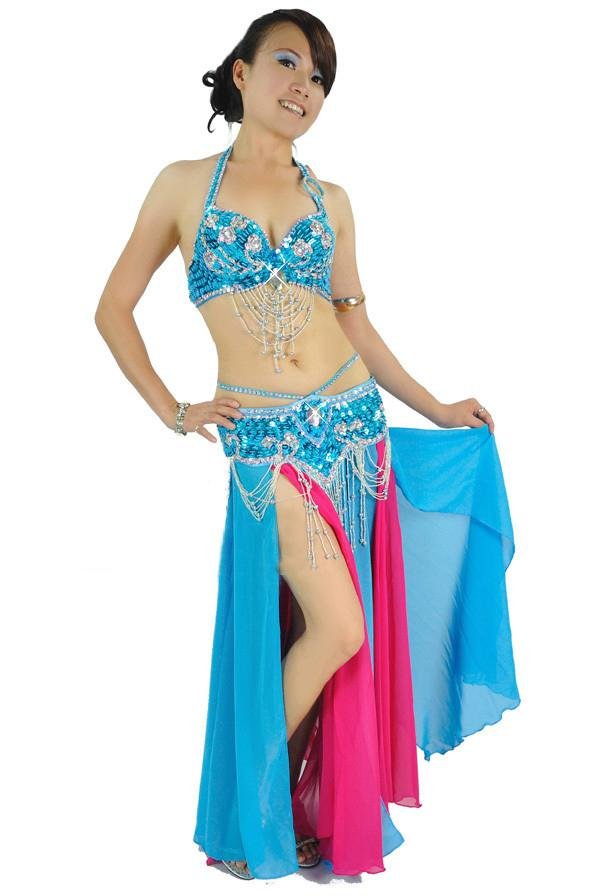 f56af845d762f Get Quotations · New High Quality Belly Dancing Costume 2 pics set of  Bra Belt 12 colors