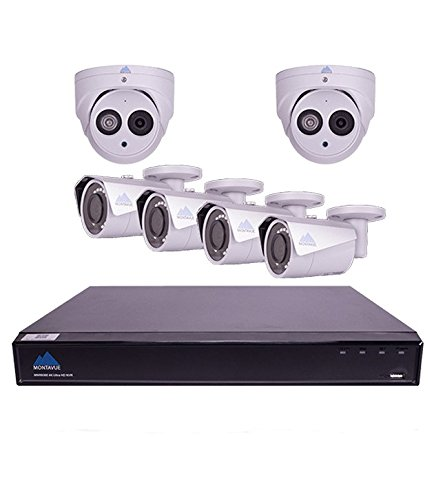 Montavue 4K Surveillance System with 6 4MP IP Security Cameras, Audio Camera Package with HypeIR 200ft Night Vision & Color Night Optics – MTIP80824B2T