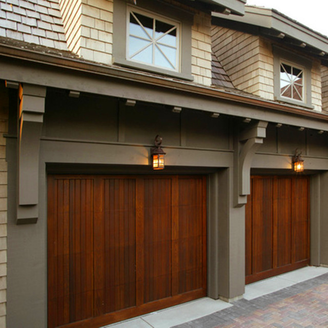 Exterior position sectional wood look garage door with glass view