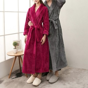 OEM KEYIDI New couple robe men and women mosaic color flannel bathrobe for women