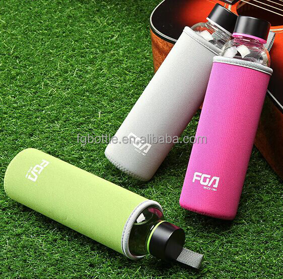 FGA brand handy travel glass drinking water bottle with colorful cover