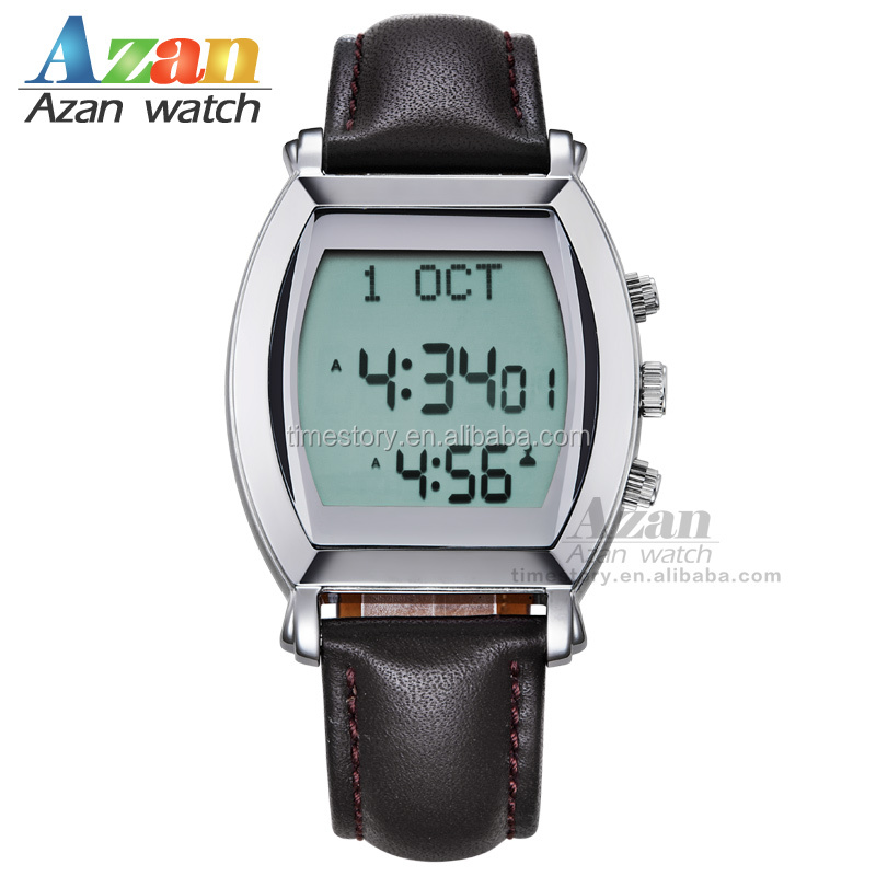 Watches Digital Watches Muslim Prayer Wristwatch With Qibla Compass 6208 Rectangle Watch For Muslim With Prayer Alarm & Azan Time