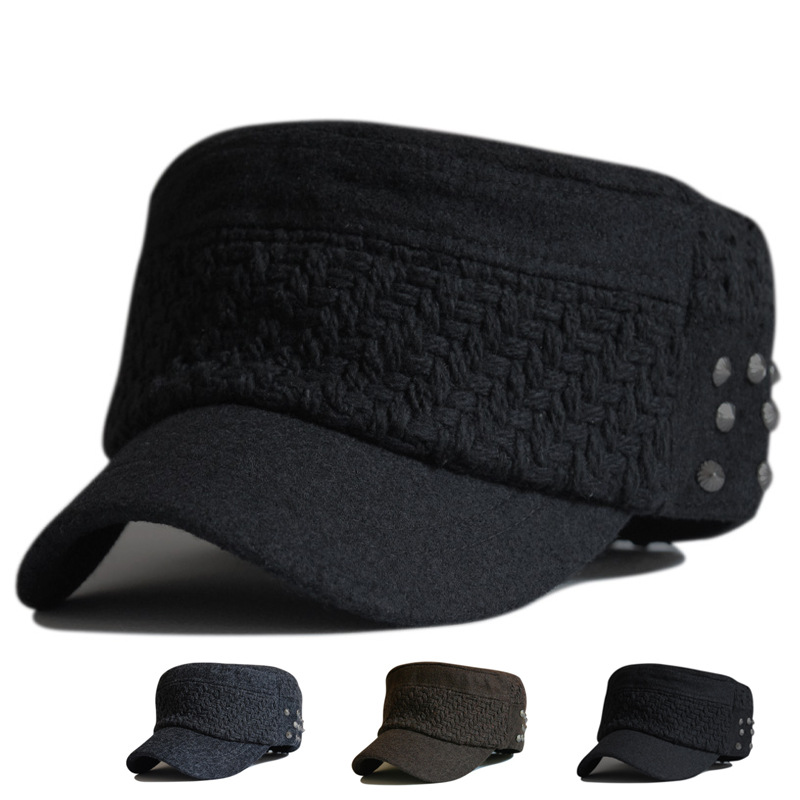 4e0a2a61985 Get Quotations · 2015 New Military Caps Military Hat Army Cap Bone Militar  thickened woolen warm wool rivet collocation