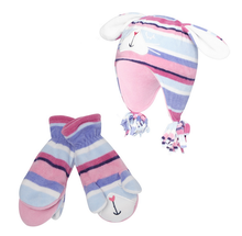 Girl's pink fleece bunny hat and mittens set