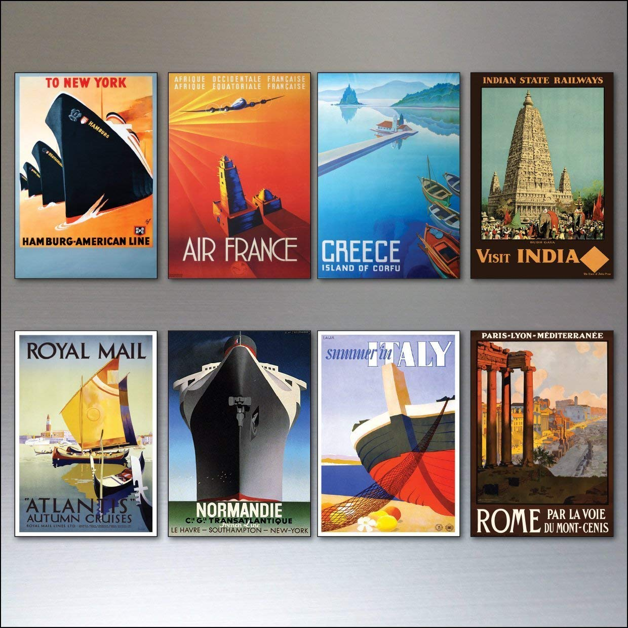 8 Vintage Travel Posters Fridge Magnets from Art Deco Period - Retro report No.5