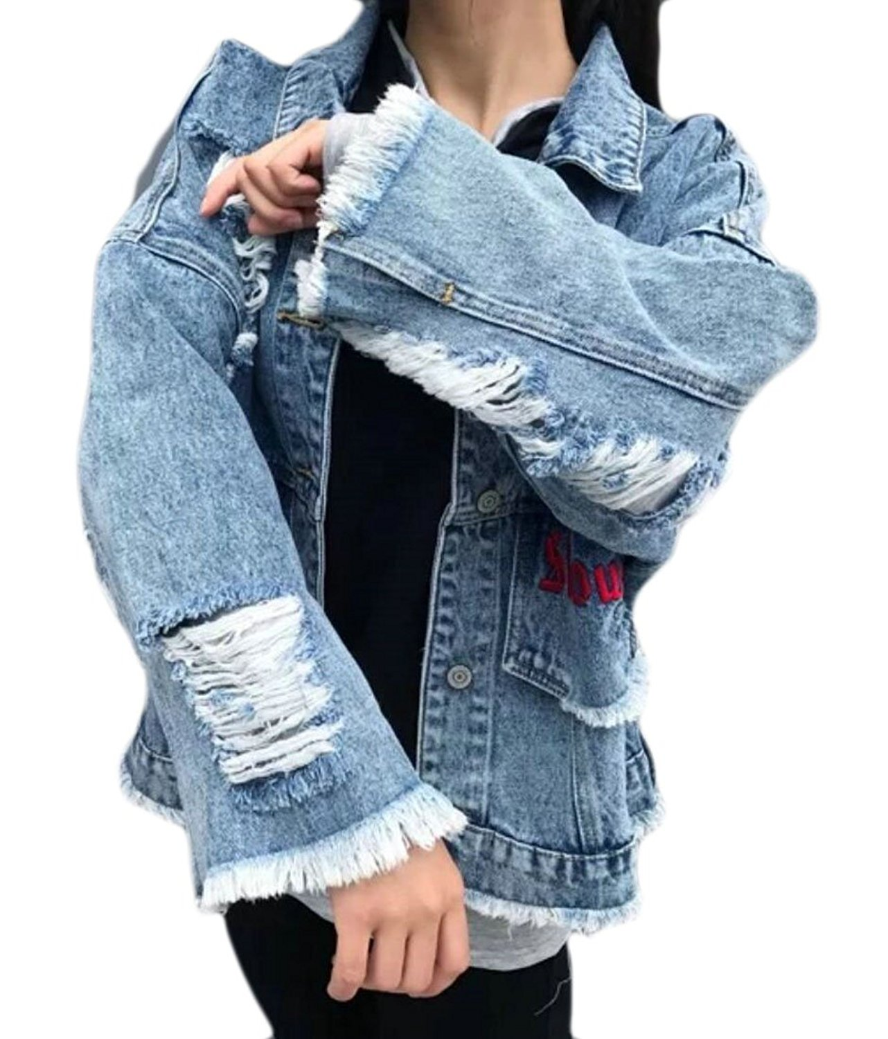 ouxiuli Womens Blue Distressed Wash Button Long Sleeve Denim Jean Jacket Coat With Pockets