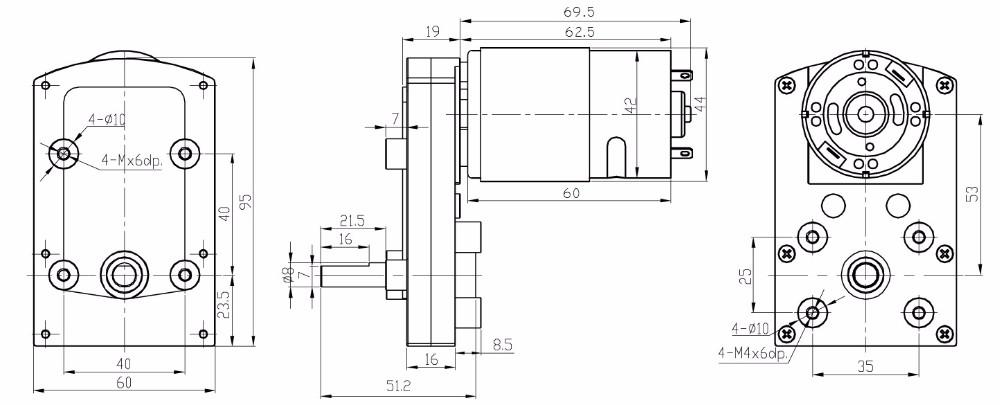 Flat Gearbox Right Angle High Torque Lowrpm Vending 24v Dc