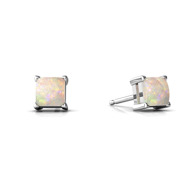 14kt Gold Opal 4mm Square Princess Cut Stud Earrings