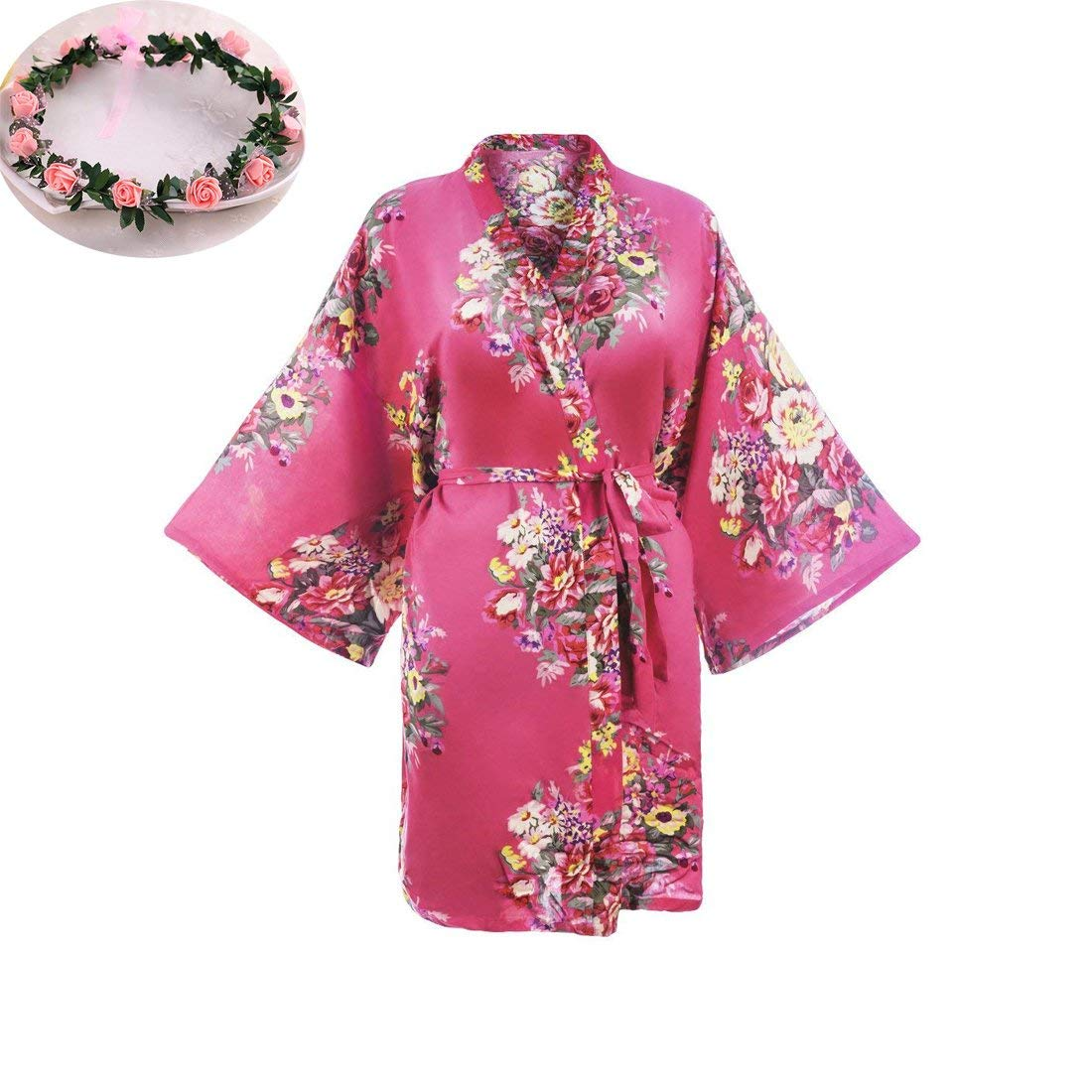 Get Quotations · RuiyIF Women s Floral Robes Plus Size with Flower Crown  for Bridesmaid 082dbd4dc