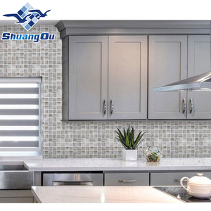 Good Quality Modern Style Grey Wood Design 48x48mm Smooth Honed Surface Bathroom Cafe Hotel Wall Kitchen Backsplash Tile Mosaic