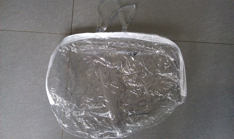 clear PVC plastic pillow bag with plastic handles