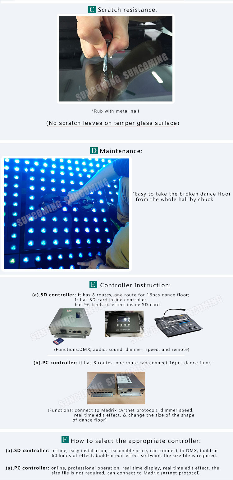 Professional RGB Led Lighted Portable Tap Dance Floor Tiles On Carpet