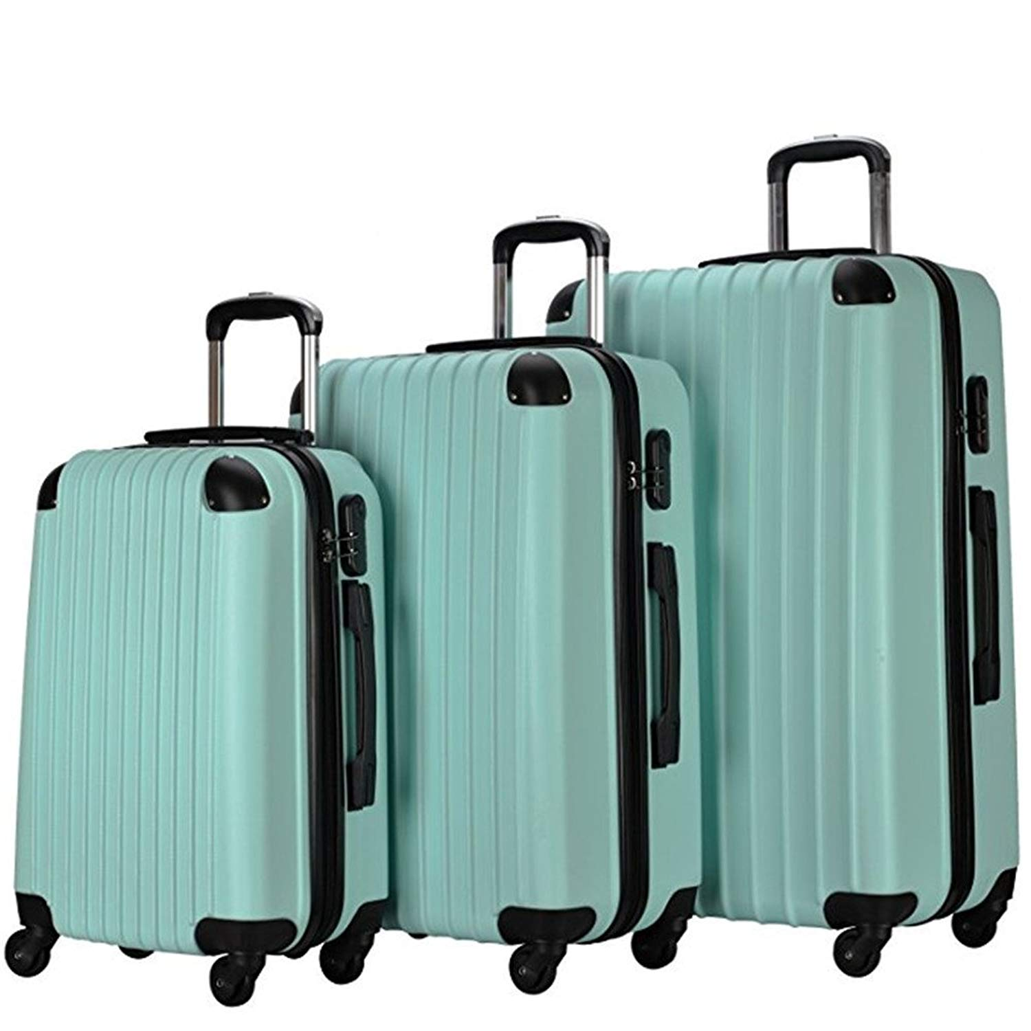 3 Piece Carry On Spinner Wheels Luggage Sets Travel Suitcases