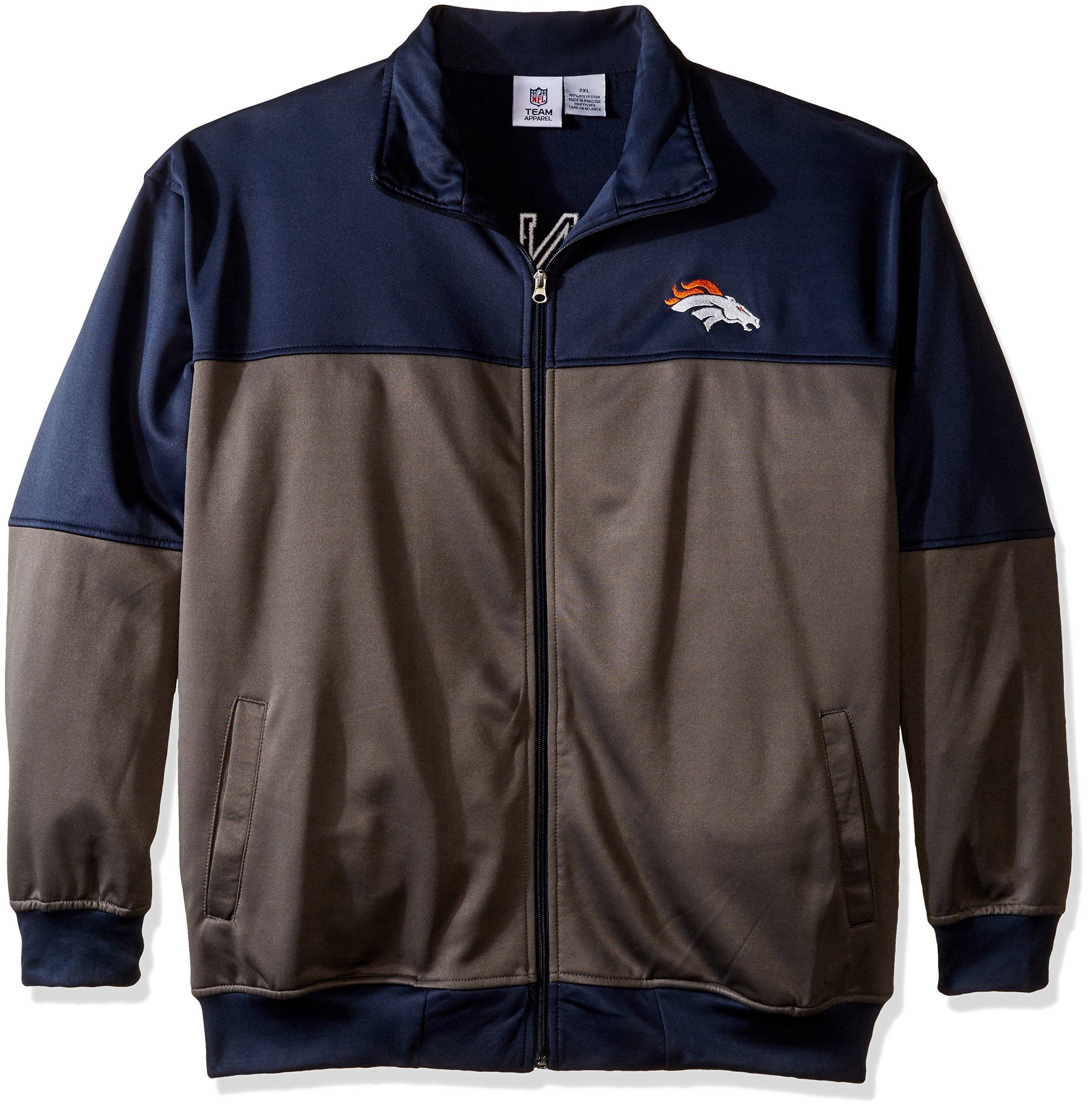 NFL Denver Broncos Unisex Poly fleece Track Jacket, CHARCOAL/Orange, 2X