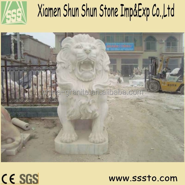 Hand Made Marble Garden Life Size Lion Beast Statue for decoration