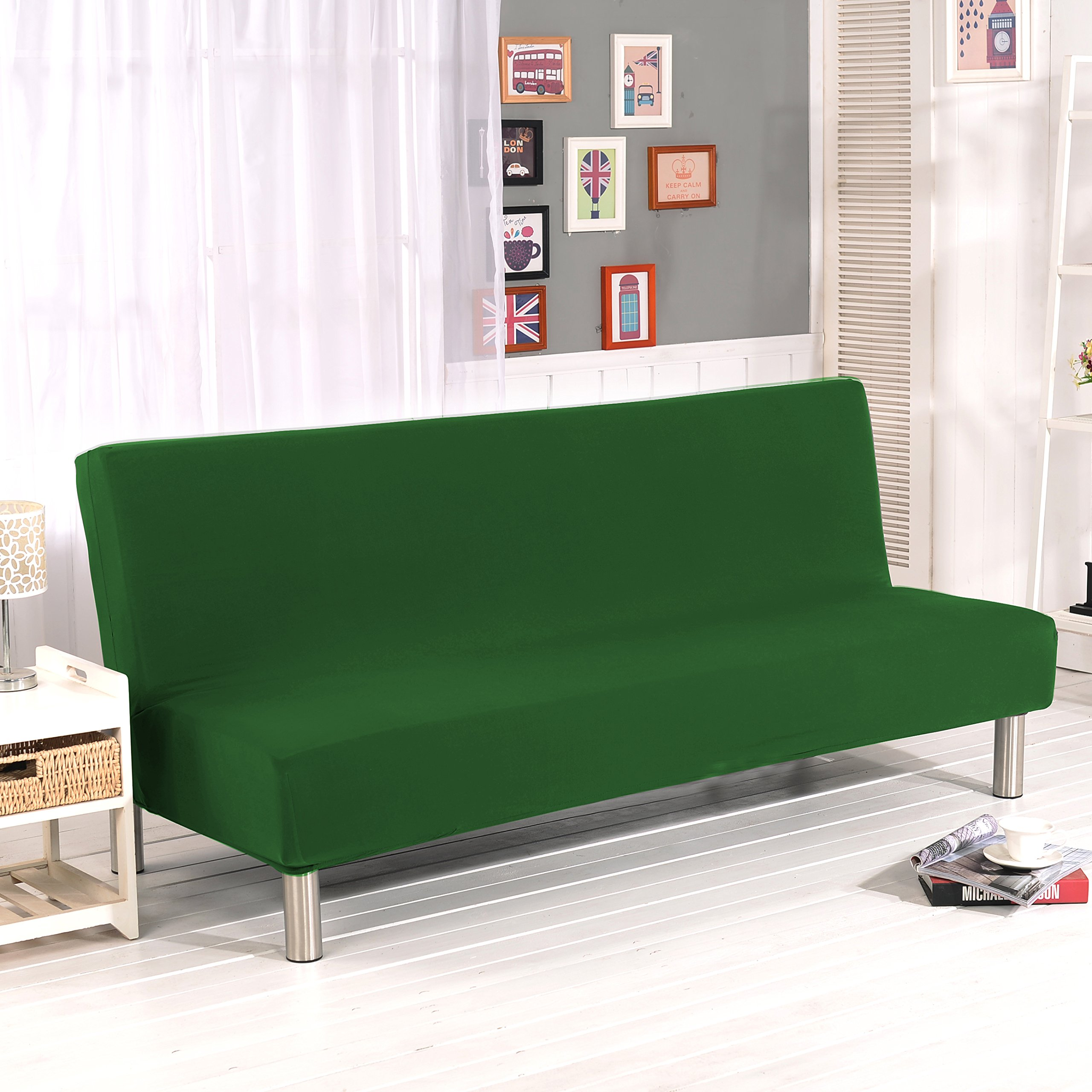 Get Quotations Watta Solid Color Futon Cover Slipcover Couch Polyester Spandex Stretch Bed Replacement