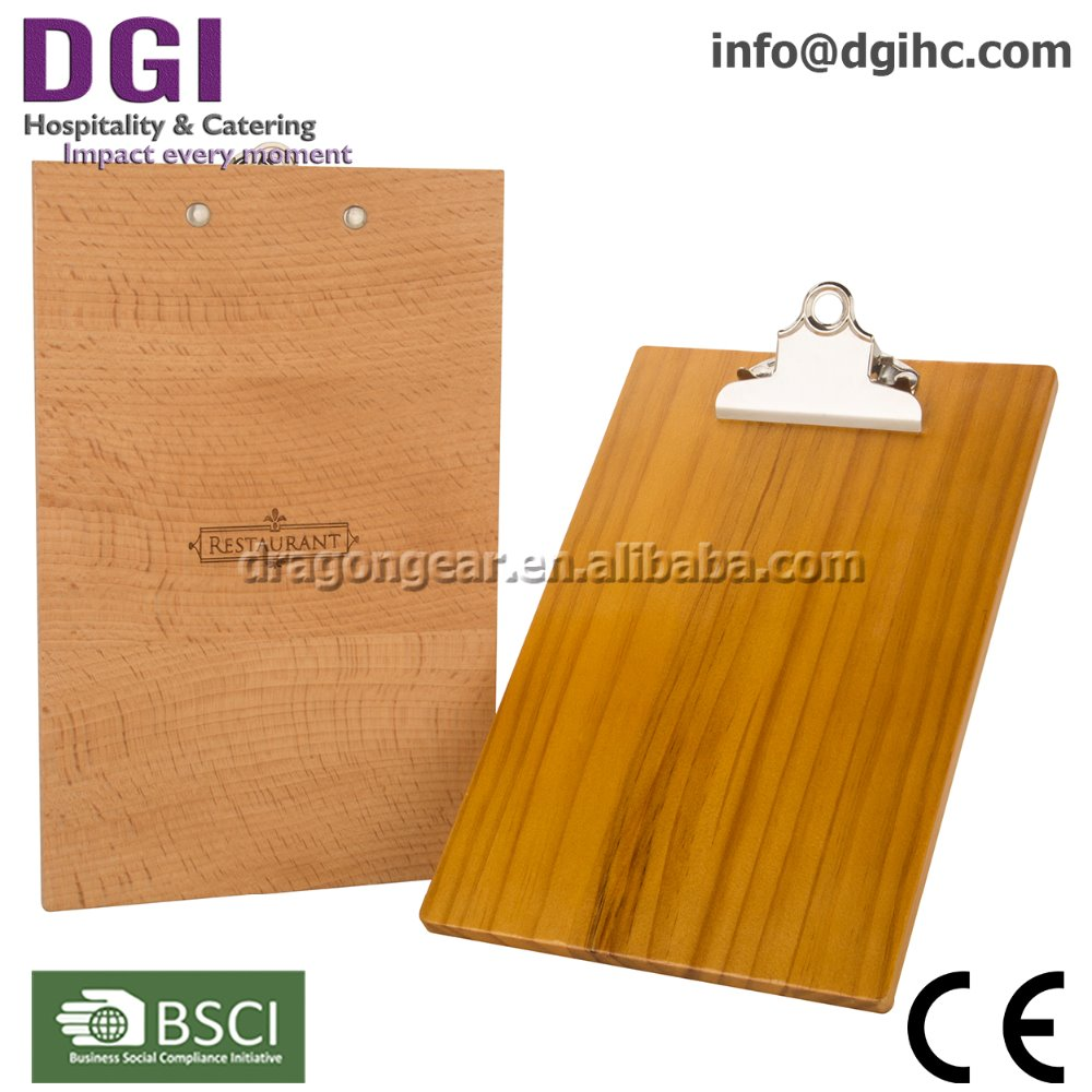 hotel suppliers bamboo panel clip board Wooden menu holder acrylic table tent for Asia & Europe market