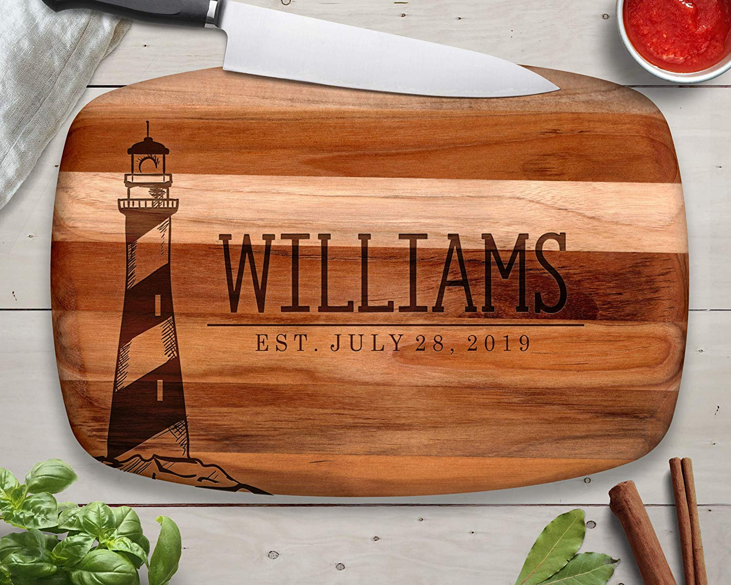 Lighthouse Teak Cutting Board, Custom Cutting Board, Wood Cutting Board, Teak Wood, Cutting Board, Serving Tray, Cheese Board, Bread Board, Wood Serving Tray, Engraved Tray, Personalized Gift