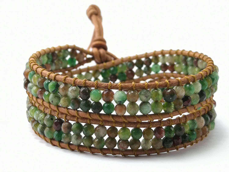 Moss agate Double Wrap Leather Bracelet,Leather bracelet,Beaded Bracelets,Womens Boho Jewelry,Bohemian wrap,Agate bracelet,Unisex bracelet - size 13-15 inches