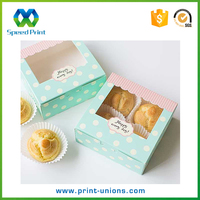 Mini cake packaging food box clear top window square paper box wholesale