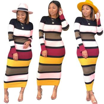 Autumn online dress shopping for women stripe sweater dress