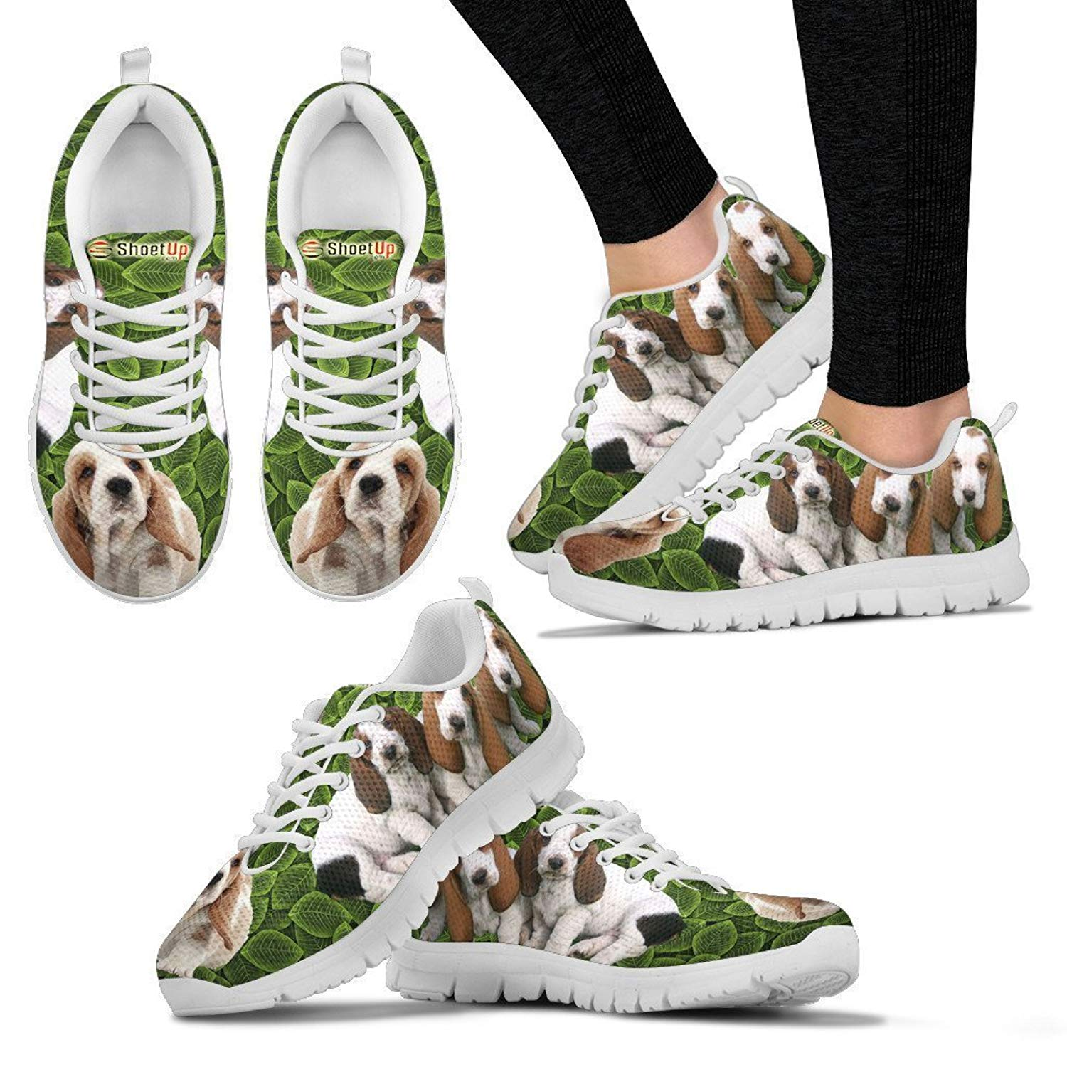 PetByYou Wome's Running Shoes – LigWome's Running Shoes – Lightweight Breathable Mesh Fabric Fashion Sneakers For Woman – Snug Fit Lace Closure Women Athletic Shoes With Basset Hound On Green Design