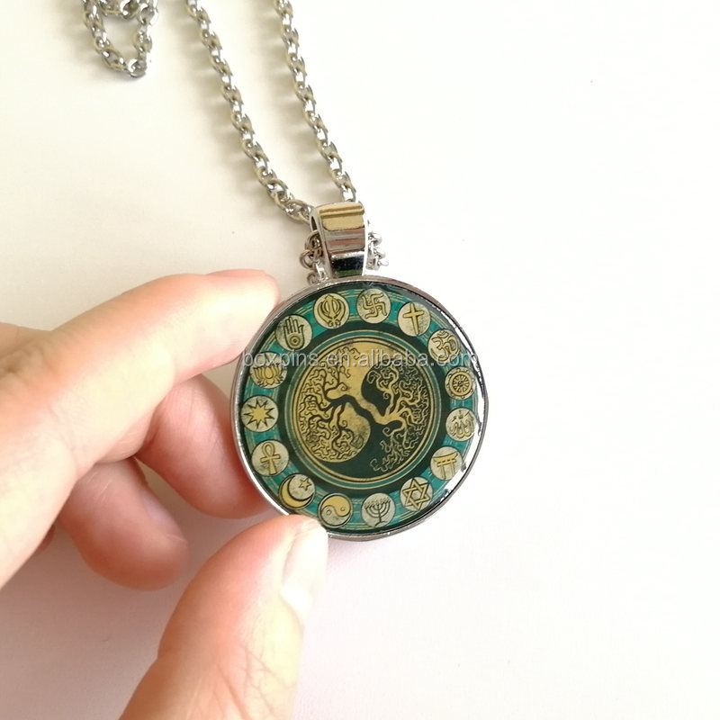 Personalized Round Shape Natural Jewelry Epoxy Resin Pendant Necklace