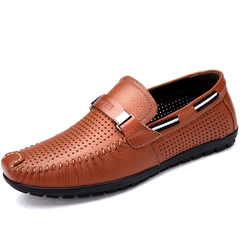 a00cf69e020 Get Quotations · 2015 new summer style men loafers genuine leather hollow  slip on boat shoes casual breathable shoes