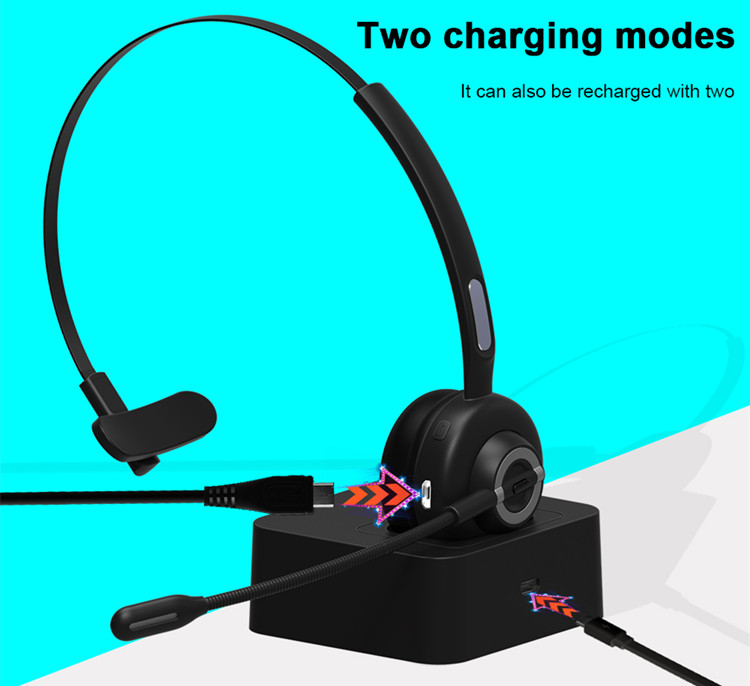 Call Center Use Bluetooth 5.0 Headsets Noise Canceling Microphone Wireless Headsets Earphones For Office Call Center Service