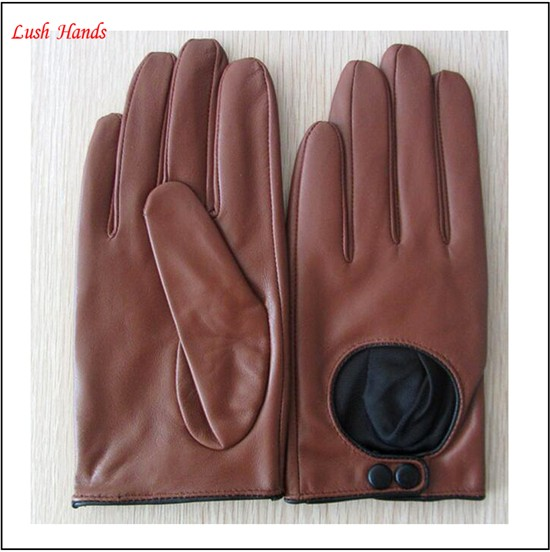 Fashion Women Black sheepskin driving leather gloves Punching details