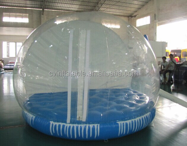 Inflatable transparent bubble dome tent with airmattress for advertising