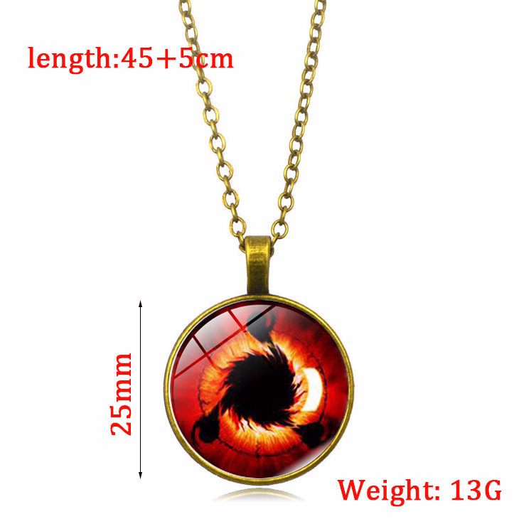 Japanese Anime Accessories Naruto Sharingan Necklace Round Eyes Wheels Red Pendant Necklace
