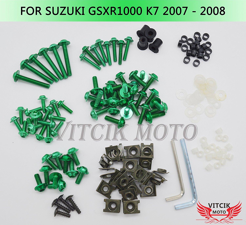 9FastMoto Full Motorcycle Fairings Bolt Screw Kits for 2004 2005 Suzuki GSXR 600 750 K4 04 05 Aluminium Screws Fastener Clips Silver