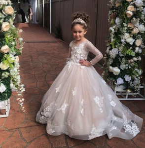 Long Sleeve Ball Gown Princess Flower Girl Dress for Wedding Party