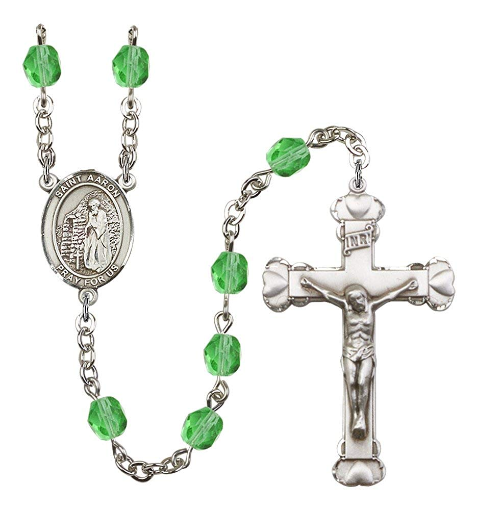 Silver Finish St. Aaron Rosary with 6mm Peridot Color Fire Polished Beads, St. Aaron Center, and 1 5/8 x 1 inch Crucifix, Gift Boxed
