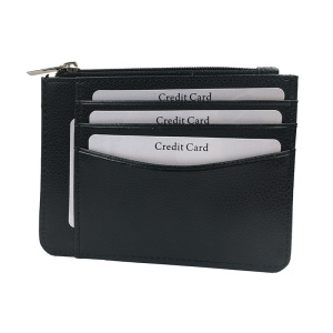 Pebble leather travel wallet RFID zip lerather card holder