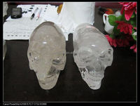 Natural Perfect Clear Quartz Rock Crystal Carving long head Alien Skull