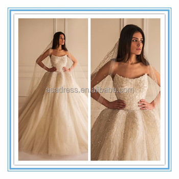 New Elegant Wedding Dresses For Fat Woman Beaded Fashion Gown A Line Ball