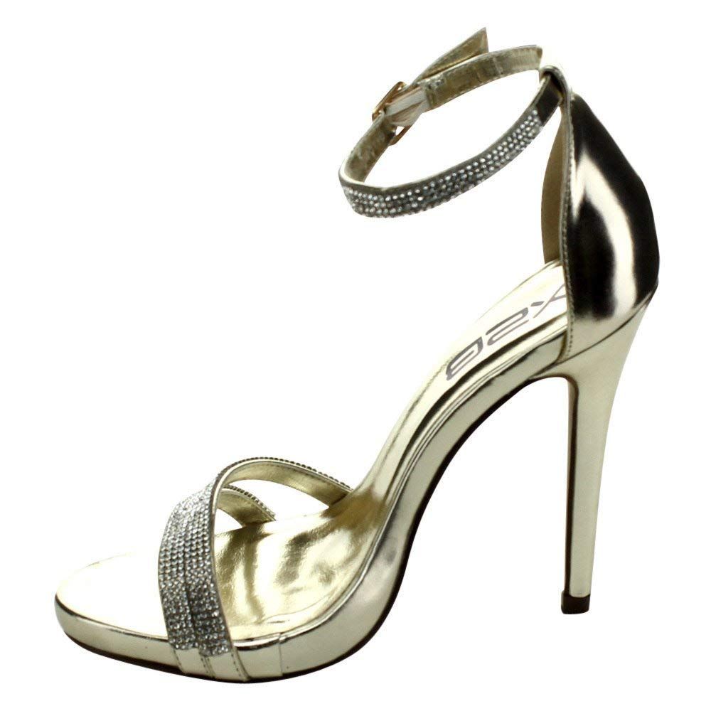 58a0d1ab4b Get Quotations · X2B Women's Rosie Rhinestone Double Strap Closed Back  Stiletto Dress Heel Shoes