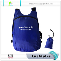 Custom travelling waterproof nylon foldable collapsible backpack