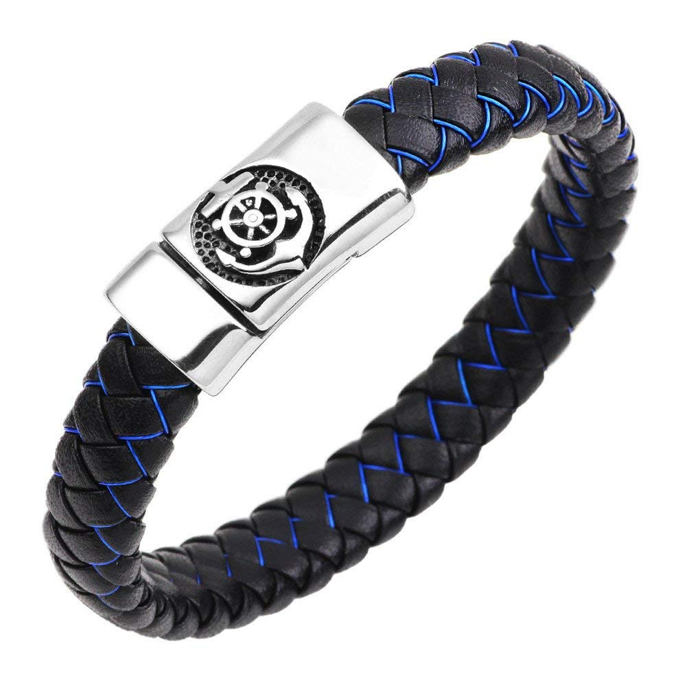 LiFashion LF Mens Stainless Steel Braided Leather Wristband Nautical Anchor Rudder Charm Magnetic Cuff Bracelet for Dad Boyfriend Husband for Outdoor Holiday Tripe Gift,21cm