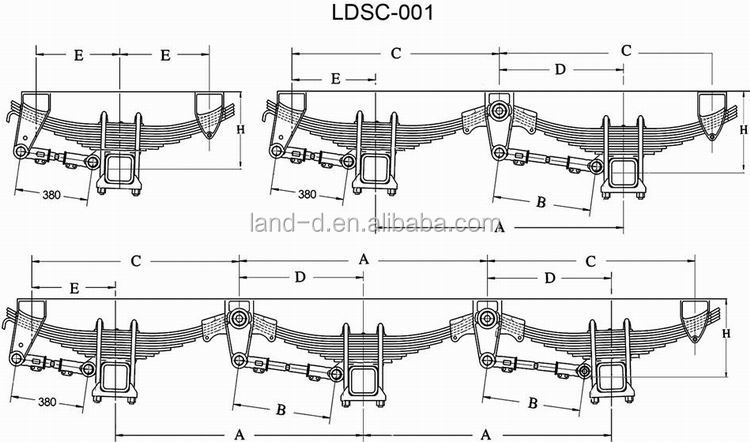 Factory Square Tandem Axle Casting 16t Mechanical Rear 10 Leafs ...
