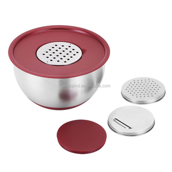 Stainless Steel Mixing Bowl With Lid & Grater Discs